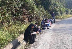اینترنت، لب جاده در دسترس است!/ برگزاری کلاس مجازی دانشآموزان کنار جاده